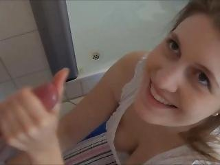 Laura Haze - Epic Blowjob In My Parents Bathroom First Video!