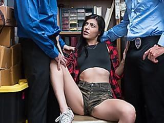 Pretty Female Theft Audrey Got Caught And Fucked Up Inside The Stock Room