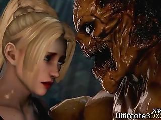 Horny 3d Blonde Fucked Deeply By Huge Alien Dick