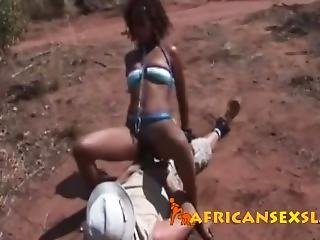 Bonded African Babe Sucking And Riding White Cock On The Safari