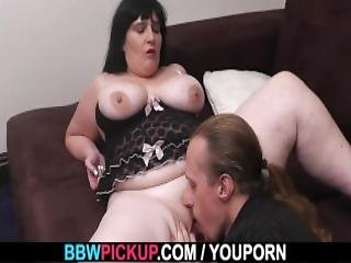 Bbw bouncer in fishnets rides his cock - 4 3