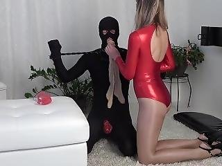 Mistress Chastity Cage Tease Shiny Red Leotard Pantyhose Gagged Slave Stuck