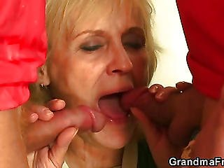 Granny Football Fan And Young Cock