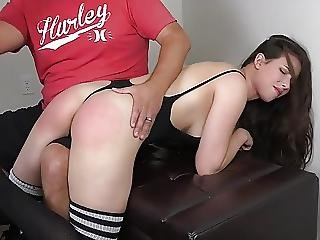 Cute Brunette Gets A Long Spanking