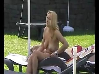 Naked Girl In A German Sauna Garden (3)