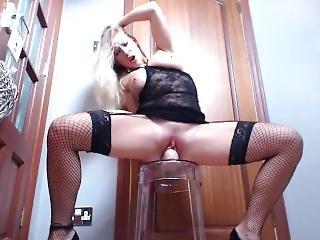 Amazing Blonde Fucks Huge Long Dildo In Her Womb