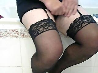 cd in stockings dildoing alone