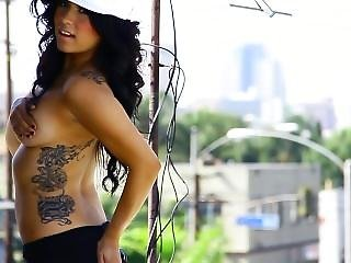 Photographing Hot Topless Latina With Tattoos On Rooftop
