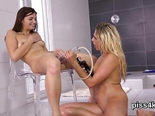 Lovesome Lesbo Sweeties Get Covered With Piss And Ejaculate Wet Snatches