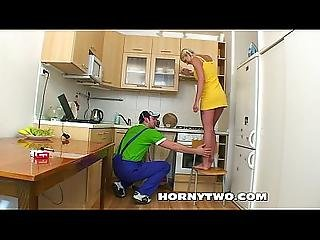 Very Pretty Blonde Bitch Lets Handyman Fuck Her Cunt And Sucks His Cock