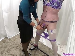 Mistress Teases Bound Sissy Crossdresser