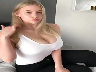 Cum Over Young Blonde Girl With Damn Huge Natural Boobs