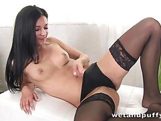 Elegant Honey In Sexy Black Stockings Teasing Herself