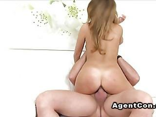 Natural Busty Blonde Fucks Fat Cock In Casting