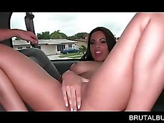 Sexy Brunette Cunt Licked And Fingered In Bus