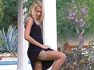 Sasha Blond Posing In Nylons Threatening-menacing Hd Porn