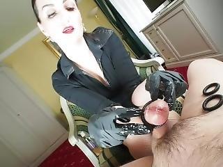 Nice Black Latex Glove Handjob