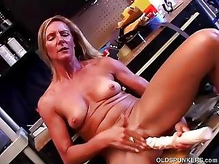 Blonde, Dildo, Fucking, Gorgeous, Heels, High Heels, Huge Dildo, Mature, Milf, Skinny, Small Tits