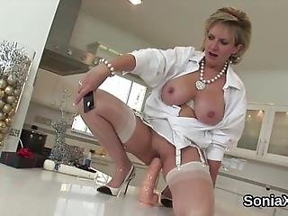 Buxom Bisexual Spouse Lady Sonia Caresses Her Large Titties And Finger Fucks Tight Cunt In Lingerie