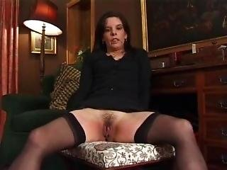 English Woman In Black Stockings Spanked And Caned Over Chairs And Desks