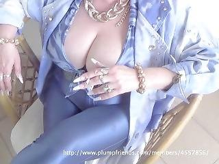 Very Busty Granny In High Heels Smoking A Cigarette