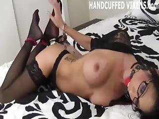 Bondage, Bound, Cuffed, Domination, Handcuffed, Lingerie, Panties, Slave, Tied, Wet