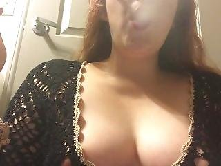 Redhead With Perky Tits Smoking In Black Sweater - Nipple Slip - Chubby