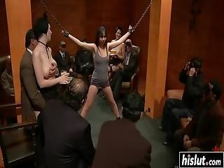 Sasha Yung Gets Tied Up Before She Starts Sucking And Riding Cocks