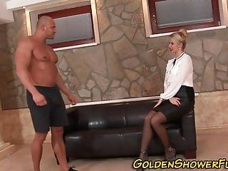 Cfnm Fetish Babe Gets Mouth Spunked And Face Golden Showered