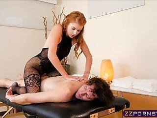 Sexy Redhead Masseuse Arya Fae Always Gives Her Clients The Special Treatment Means Wearing Her Body Stockings And Offering Her Tight Pussy
