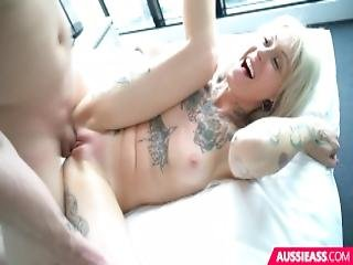 Tattooed Aussie Fucked On Bed With Legs Spread Wide