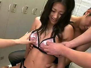 Horny Satomi Takes On A Lockeroom Full Of Dicks