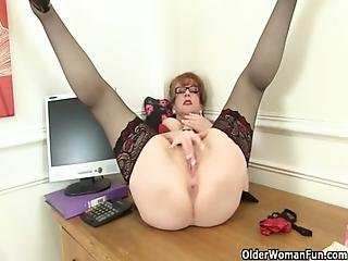 British, Heels, Mature, Milf, Office, Secretary, Solo, Stocking