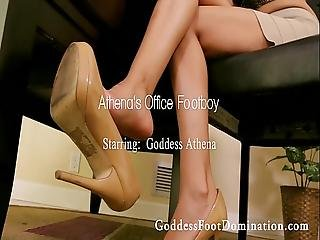 Office Footboy With Goddess Athena