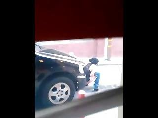 Crazy Powerful Pee Stream Near Car