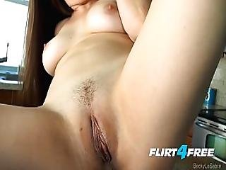 Sexy Pornstar And Flirt4free Model Becky Lesabre Tickles Her Tummy And Pussy
