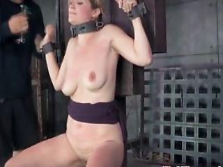 Breastbound Sub Restrained On Fuck Machine
