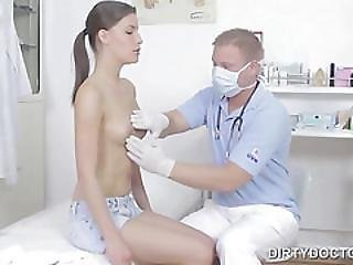 Doctor Gives Brunette An Examination