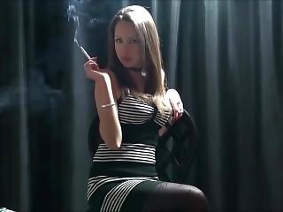 Hot Brunette Smoking (js)