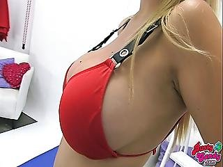 Huge Tits Bubble Butt Teen Wearing High-heels N Red Bikini