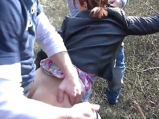 Outdoor Leather Jacket Threesome