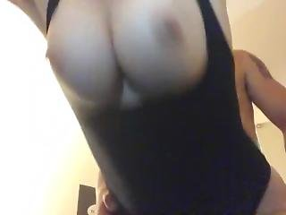 Bouncing Huge Tits Trying To Stay Quiet While Daddy Fucks