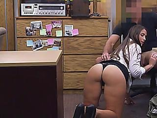 Long Haired Babe Surprised By The Pawnshop Owner Huge Cock