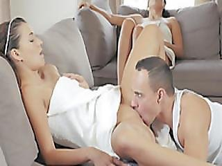 Lucky Guy Gets To Fuck His Girlfriend And Her Mother