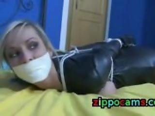 Big Tits Blonde in Catsuit bondage and gagged