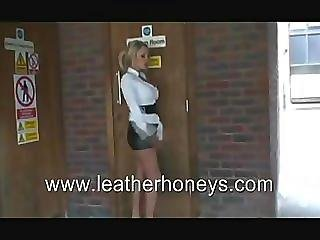 Cigarette, Fetish, Leather, Nylon, Skirt, Smoking, Stocking