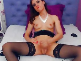 Very Pretty Tranny Babe Striptease And Masturbation