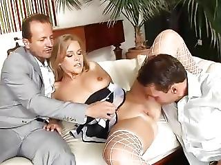 Big Hangers On Blonde Girl Threesome Anal Fuck