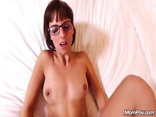 Nerdy Sex Addict Milf Squirts During Facial.