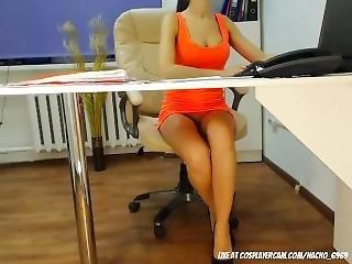 Amateur, Robe, Secrétaire, étroite, Webcam